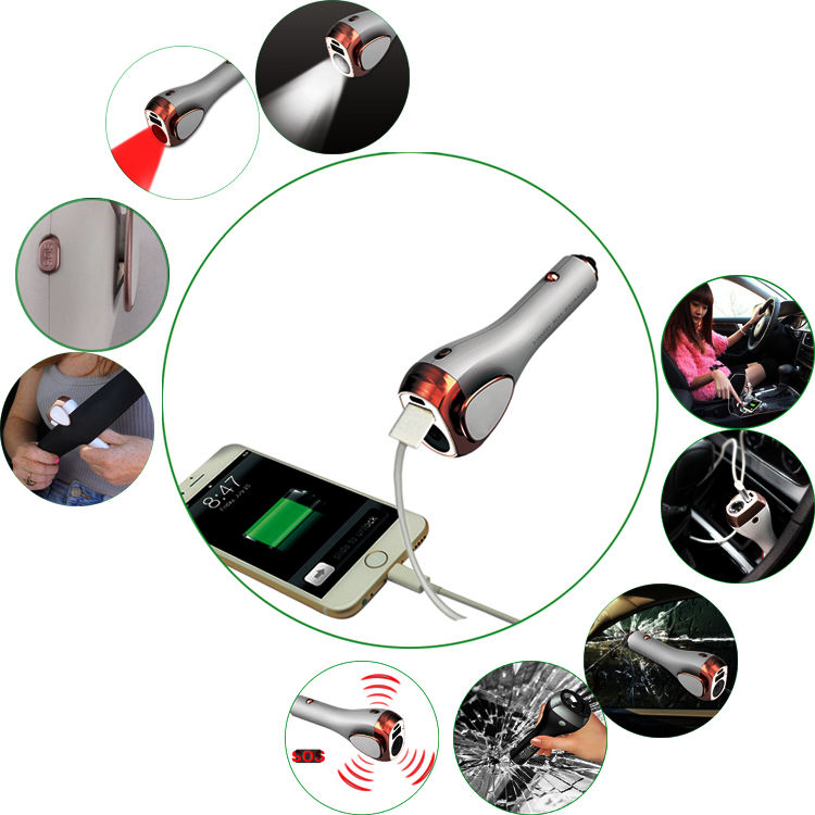 Multi-functional Car Emergency Equipment Power Bank Charger with Integrated Safety Hammer LED Flash Light