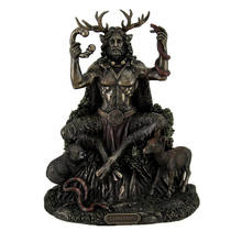 Polyresin/Resin Statues Cernunnos  Horned God Of Animals And The Underworld Statue 9 Inch 7 X 8.75 X 5.5 Inches Bronze