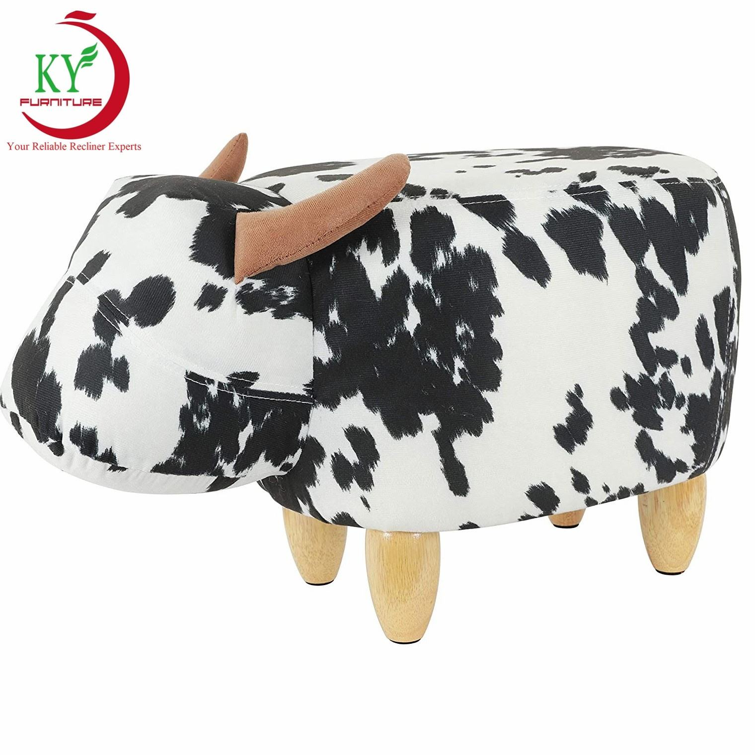 JKY Furniture Living Room Ottoman Footstool Cute Animal Upholstered Stool For Kids