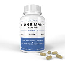 Private Label Organic Nootropic Brain Supplement and Immune System Booster 1500 mg Lions mane Capsules