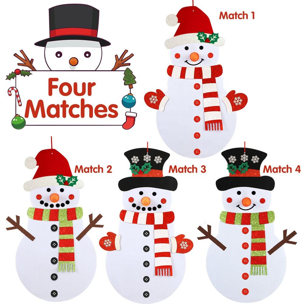 Ourwarm New Design Double Side Christmas Indoor Decoration Wall Hanging DIY felt Snowman Games Set For Kids