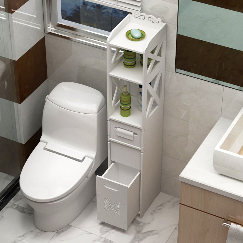 Classic luxury design modern bathroom cabinets Next to the toilet holder commode With invisible trash can