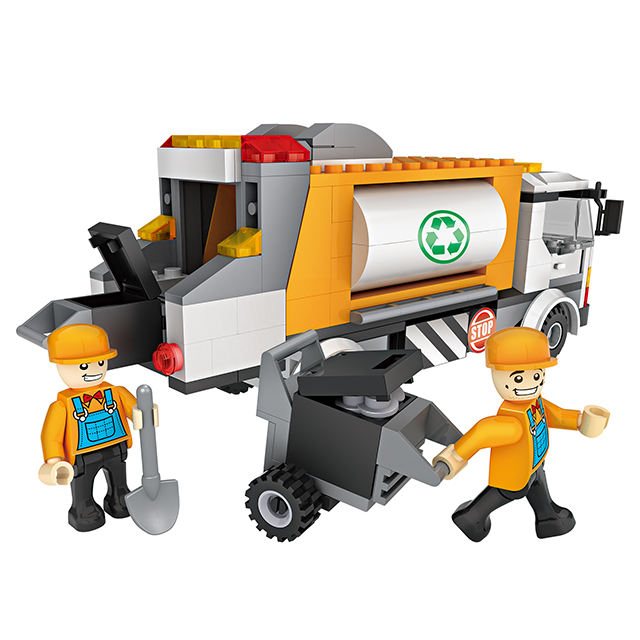 COGO 257pcs Garbage Collection Truck With Figures Self-Assembly Educational Model Building Blocks Toys for Kids