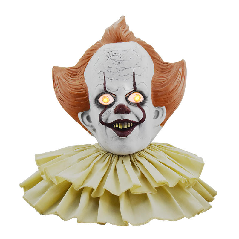Nieuwe Stephen King's PVC Masker Pennywise Horror Clown Halloween Masker Light up LED Joker Masker Helm Met Cosplay Kostuum