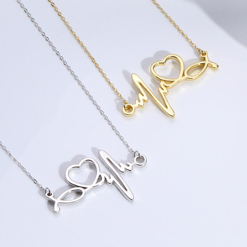 VIANRLA 925 sterling silver gold plated heart love charm necklace for mother or girlfriend