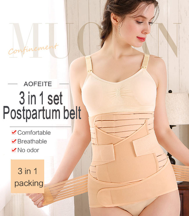 Breathable 3で1 Postpartum Support Recovery Belly Wrap Waist/Pelvis Belt Body Shaper Postnatal Shapewear