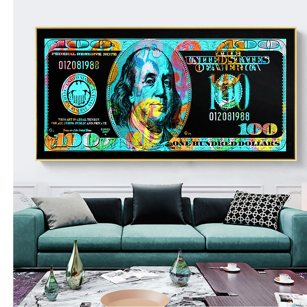 Modern Pop Culture Money Style Street Art Inspirational Canvas Wall Picture money painting wall art