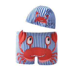 Low MOQ Children Swimsuit Boys Swim Trunks Cartoon Print Kids Swimwear Shorts   Caps