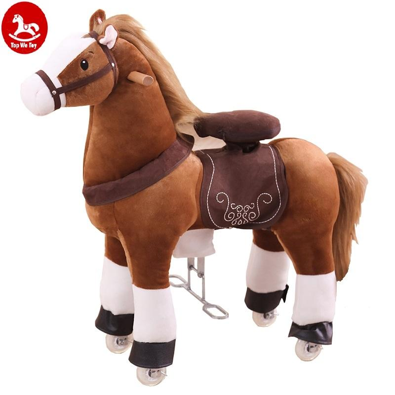 Cartoon Animal Design Plush Riding Pony Toy Mechanical Walking Pony Giddy Up Horse Cycle Toy