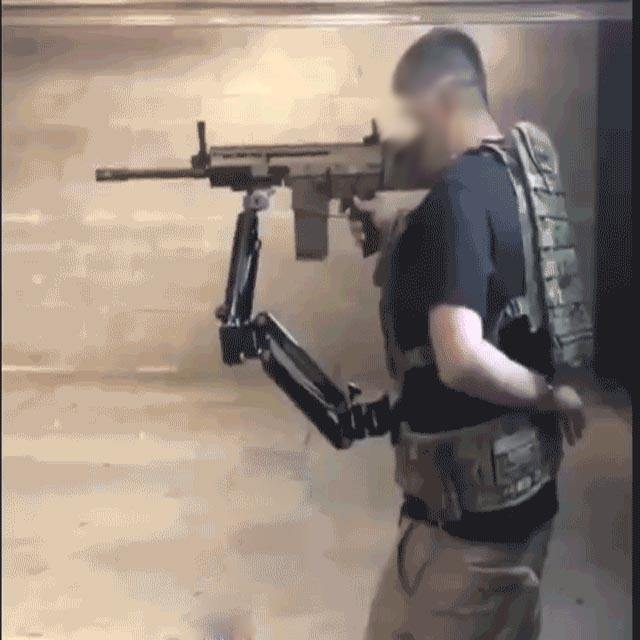 Military auxiliary arm exoskeleton system for gun holder