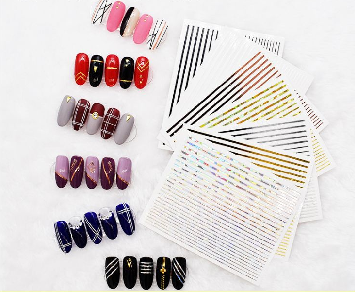 New 3D embossed geometric rivet nail art sticker waterproof gold metal rivet nail sticker