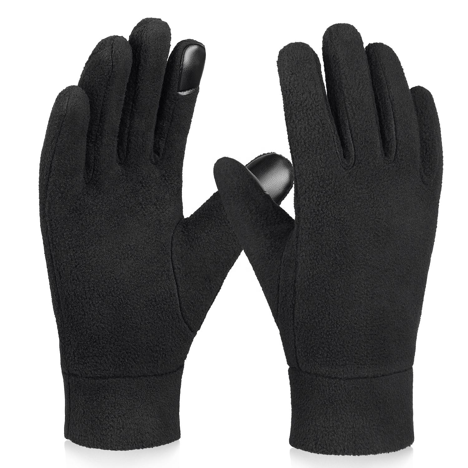 Ozero Black Touch Screen Polar Fleece Gloves Lightweight Running Winter Gloves Unisex for Men and Women .