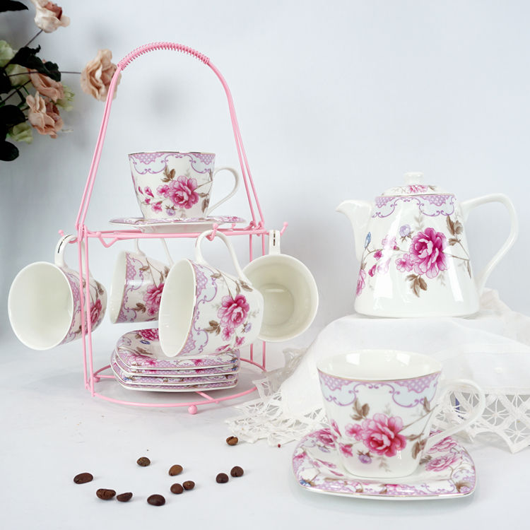 Stock Products 13 pcs gift box packing ceramic mug cup teapot new bone China tea set with iron stand