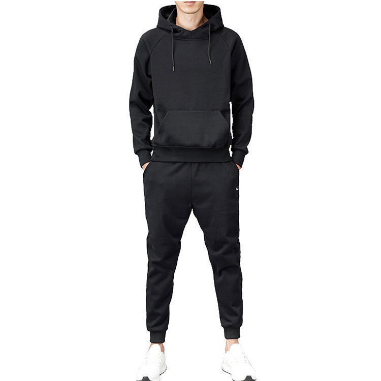 Wholesale Winter Thickening Blank 2 Piece Black Hoodie Sports Sweatsuit Tracksuit