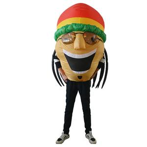 INY03 Funny Inflatable Jamaican Costume Big Fat Head Wearing Sunglasses Hat Halloween For Adult