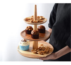 3 Tier Buffet Display Stand Table Solid Round Wooden Dish Serving Tray