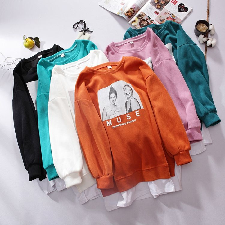Fashion design loose casual woman long sleeve sweaters and pullovers hoodie wholesale