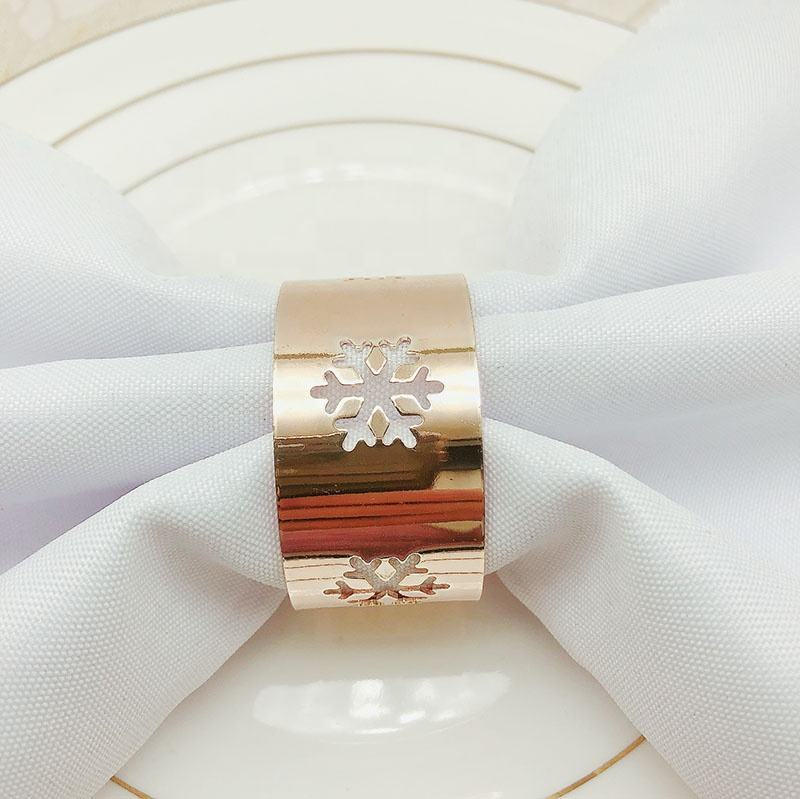 Christmas Snow Flake Napkin Ring Cheap Napkin Rings Rose Gold Hollow christmas napkin ring set HWC97