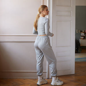Wholesale Customized Logo Quick Drying Elasticity Women Gym Workout Plain Sweat Suit
