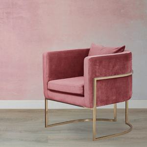 Nordic Style Rose Gold Cool Pink Velvet Cushion Accent Chair For Living Room