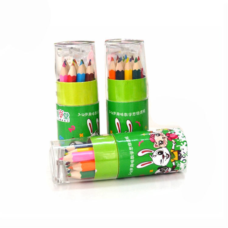 Mini natural colour pencil set with sharpener and paper tube case