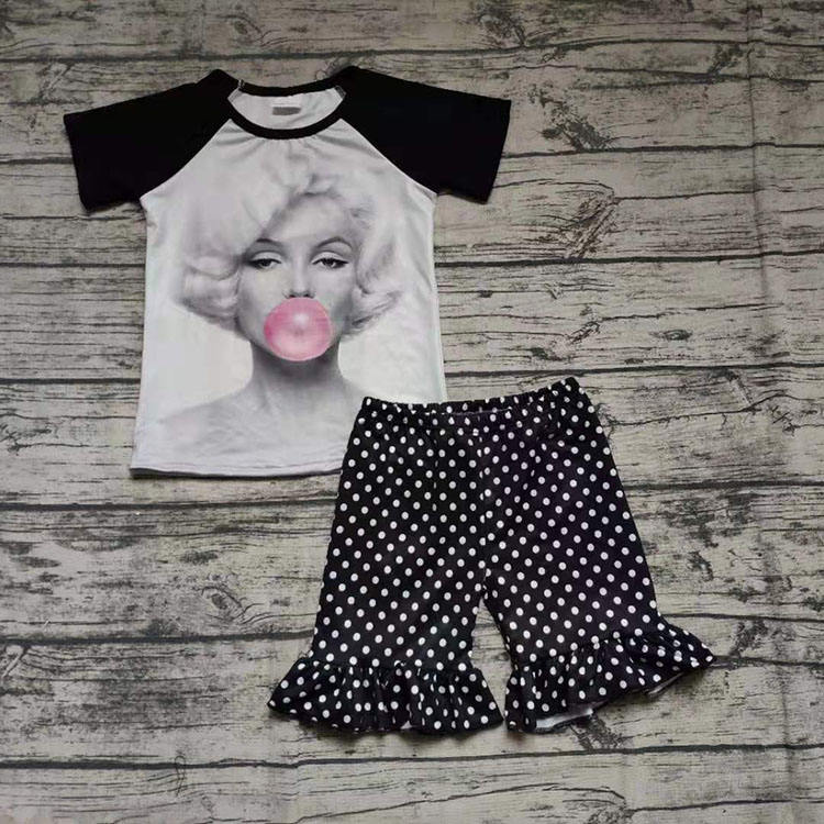 summer fashion baby girl outfit short sleeve white top and black dot short set clothing children's clothes newborn baby outfit