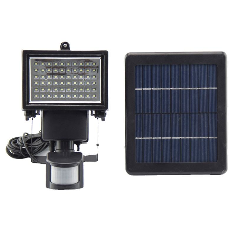 Motion Sensor Waterproof Security Wall Lights 60 LED High Bright Solar Rechargeable Floodlight with