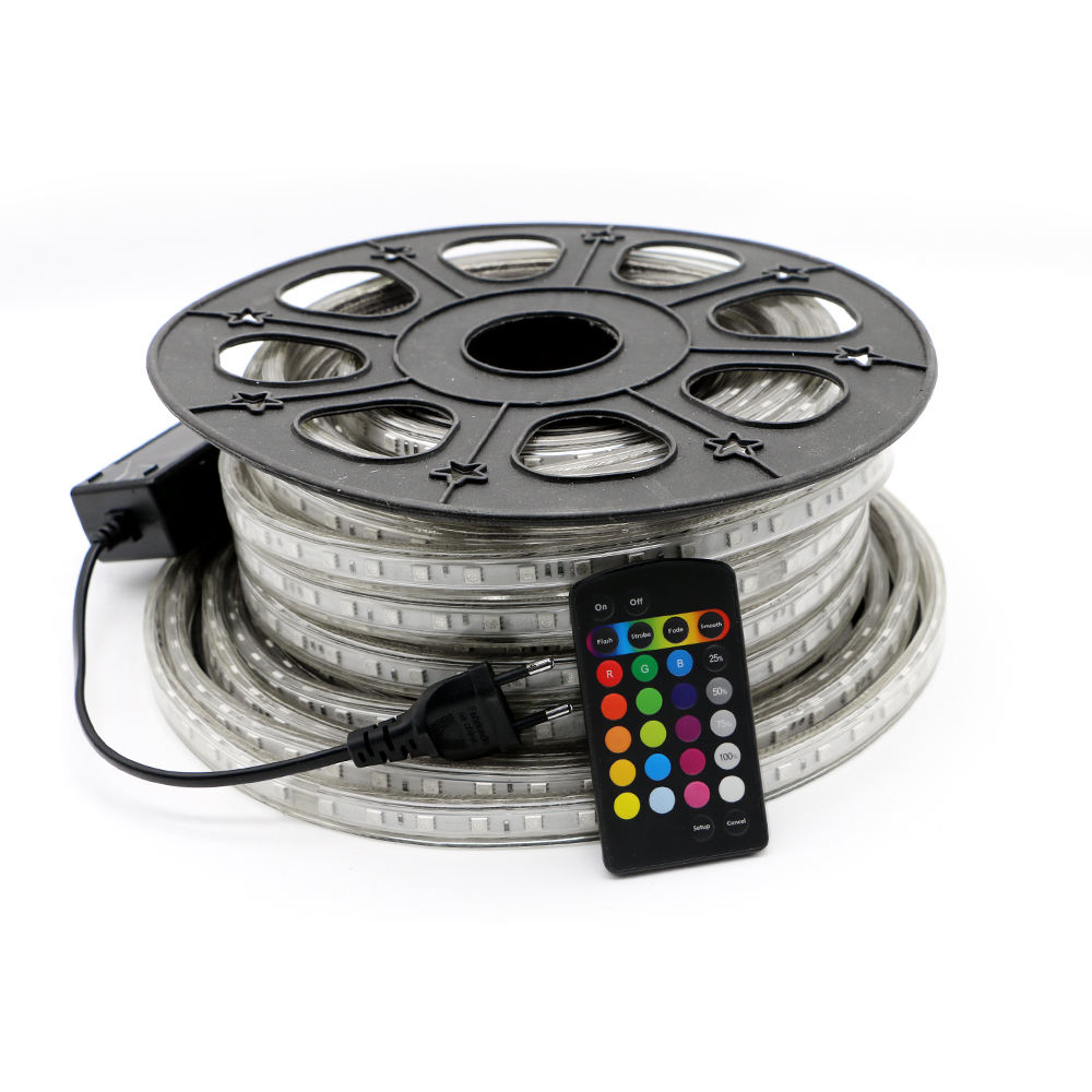 Rgb 220v Led Strip 220V High Voltage LED Strip Light RGB SMD 5050 Tape Remote Control Waterproof Rgbw Led Backlight Strip