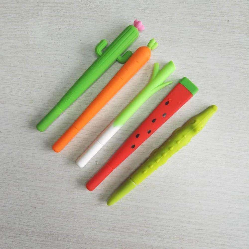Hot selling promotion silicone refill gel pen stationery flower pen