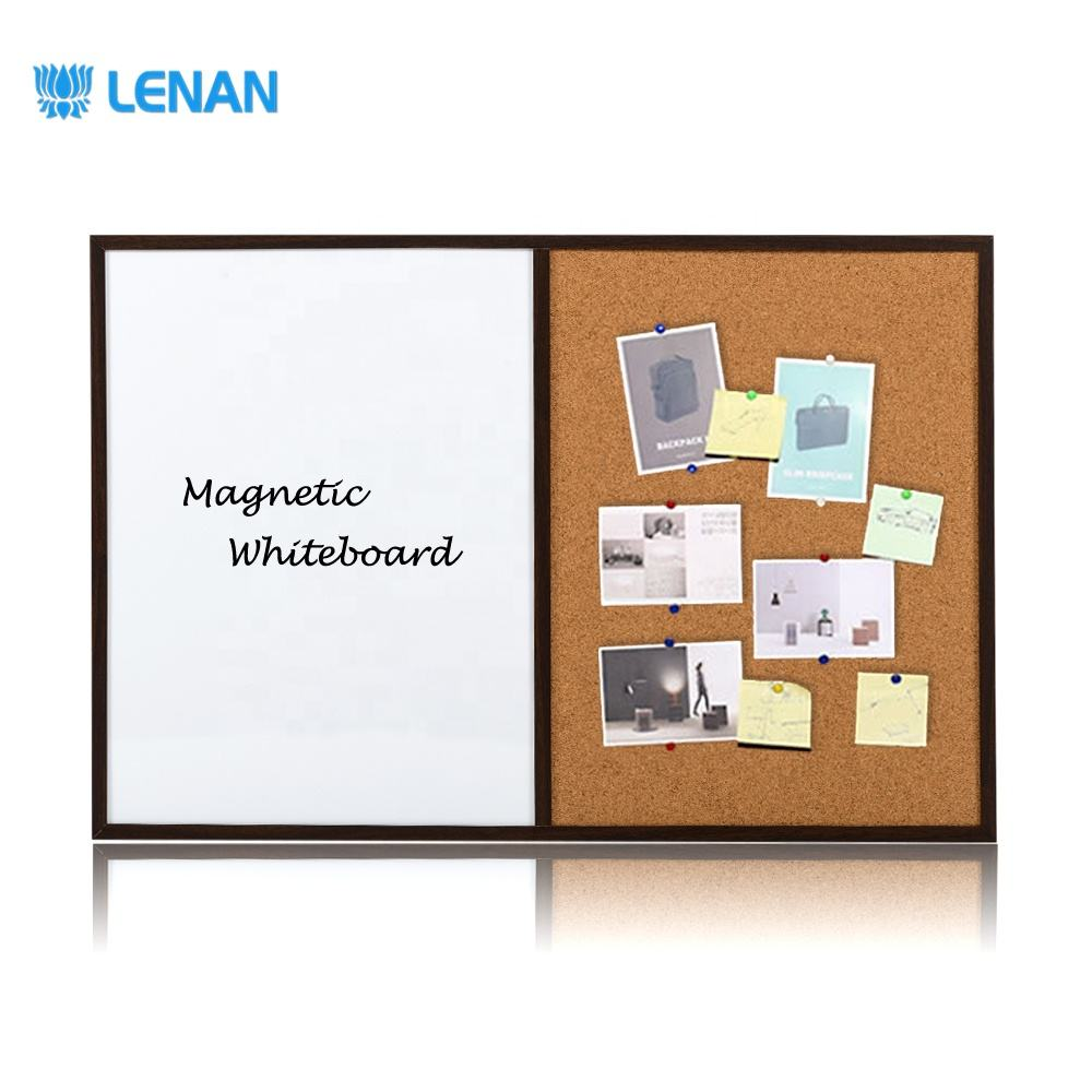 Combination Dry Erase Magnetic Whiteboard Pins Cork Bulletin Board Combo Board with Wooden Frame