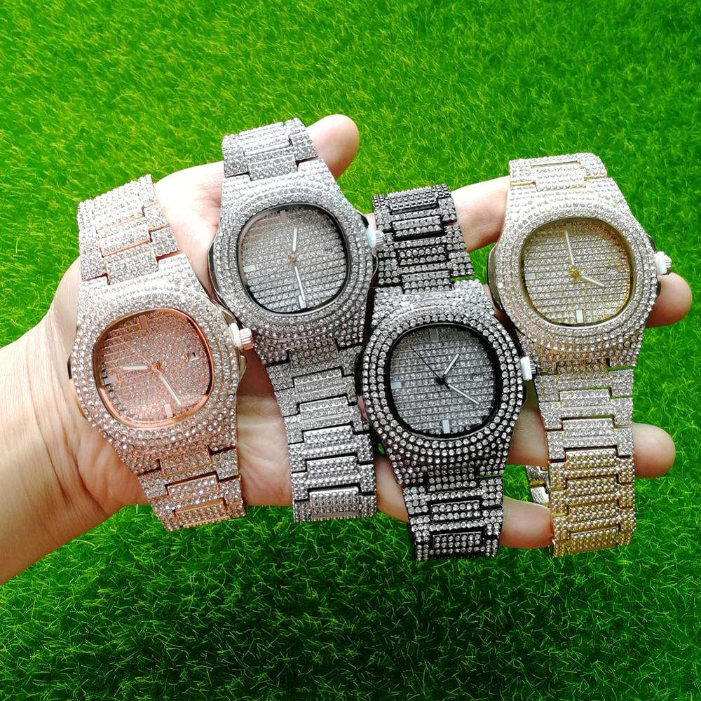 HIP HOP Rose Gold Watch Men Diamond Men Watches Top Brand Luxury Iced Out Male Quartz Watch Calender Big Dial Gift For Men