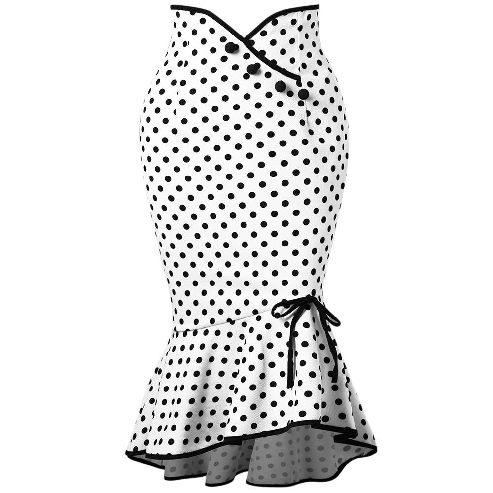 Polka Dot Button Sweet Knee Length Bow Ruffle Fishtail Women Skirt
