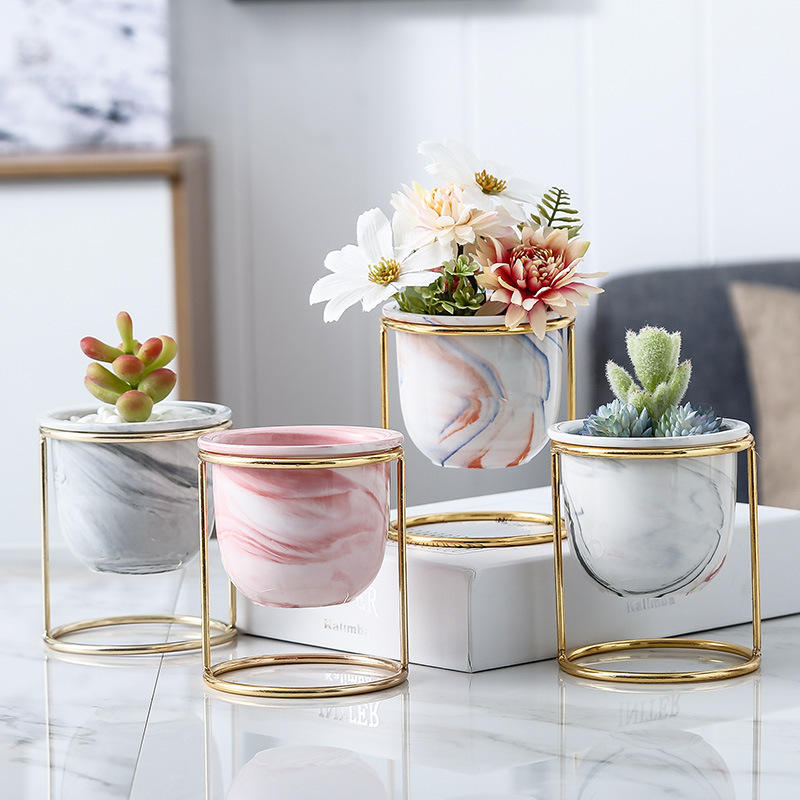 Nordic creative succulent marble pot Indoor Decor ceramic flower plant pots with gold iron frame