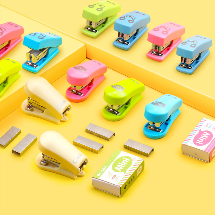 Promotion high quality mini metal portable colorful stapler no.12 staple
