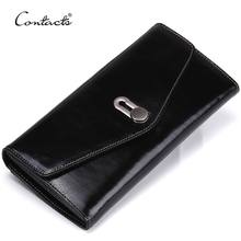 dropship contact's luxury genuine leather coin purse card holder mobile phone pocket flip cover large card clutch women wallet