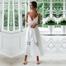 2020 Hollow Out V Neck Adults White Solid Bohemian Girls Beach One Piece Dress