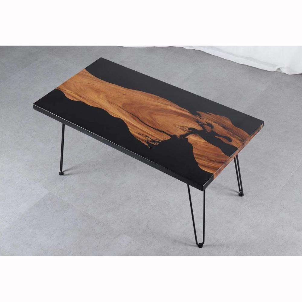 3 feet long rectangular coffee table black epoxy resin table