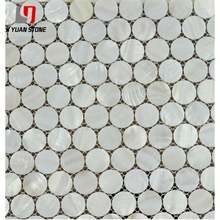 Reasonable Price Tile Crushed White Mother Of Pearl Round Mosaic Patterns For Project