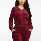 Hot sale long sleeve active jogger suit training sweatsuit women fitted velour hooded gym tracksuit