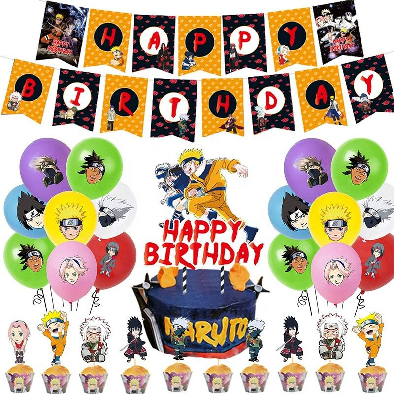 Anime Party Supplies Pack Enthält Naruto Banner Cake Topper <span class=keywords><strong>24</strong></span> Cupcake Topper 14 Luftballons für Naruto Party zubehör
