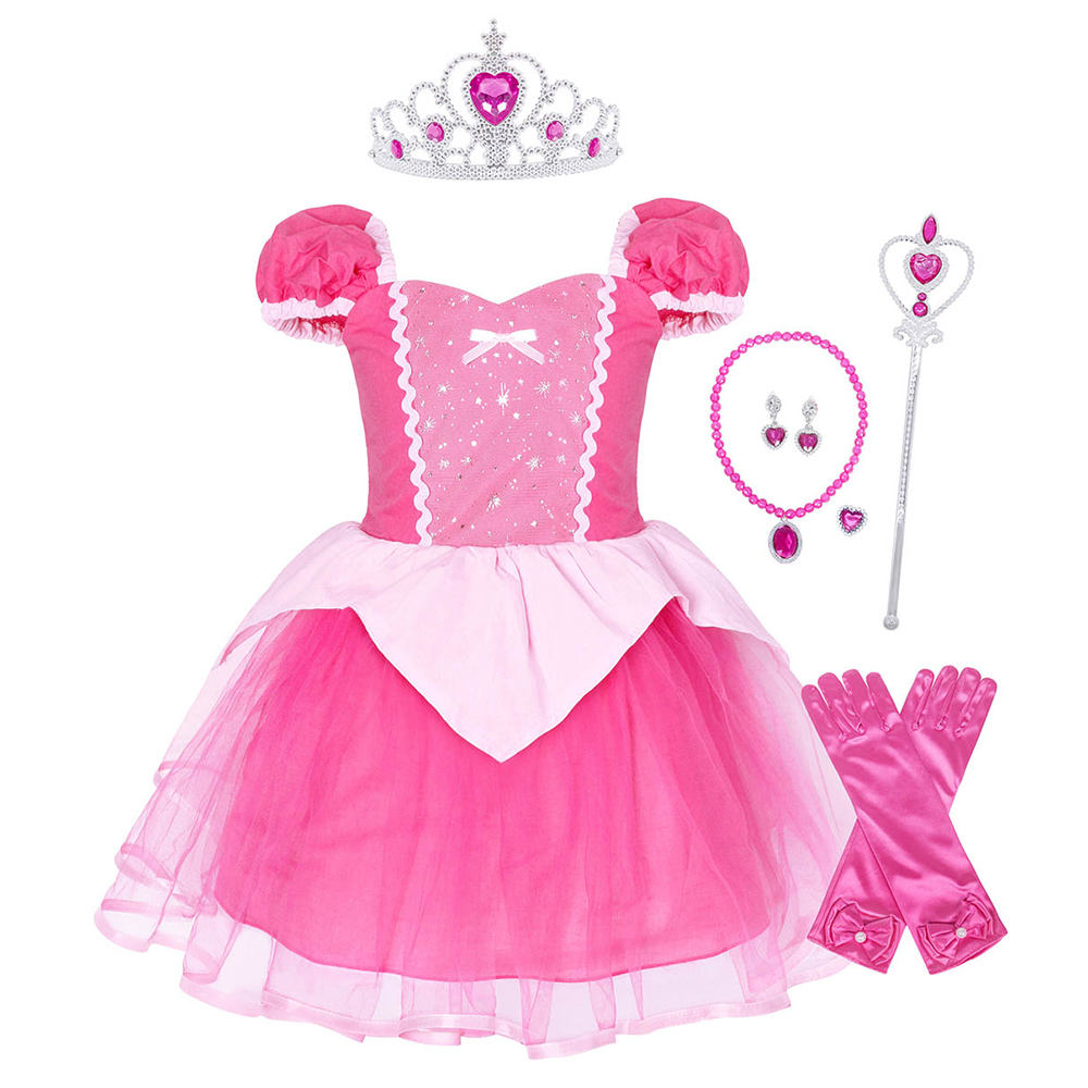 Little Girls Aurora Princess 4 Layers Dress Up Birthday Cosplay Party Fancy Dresses Costume