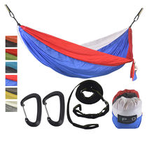 Ultralight military outdoor portable double parachute nylon camping hammock with tree straps