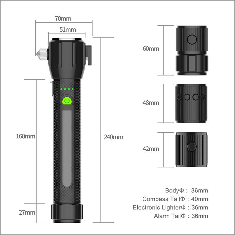 high quality multifunction outdoor led rechargeable flashlight