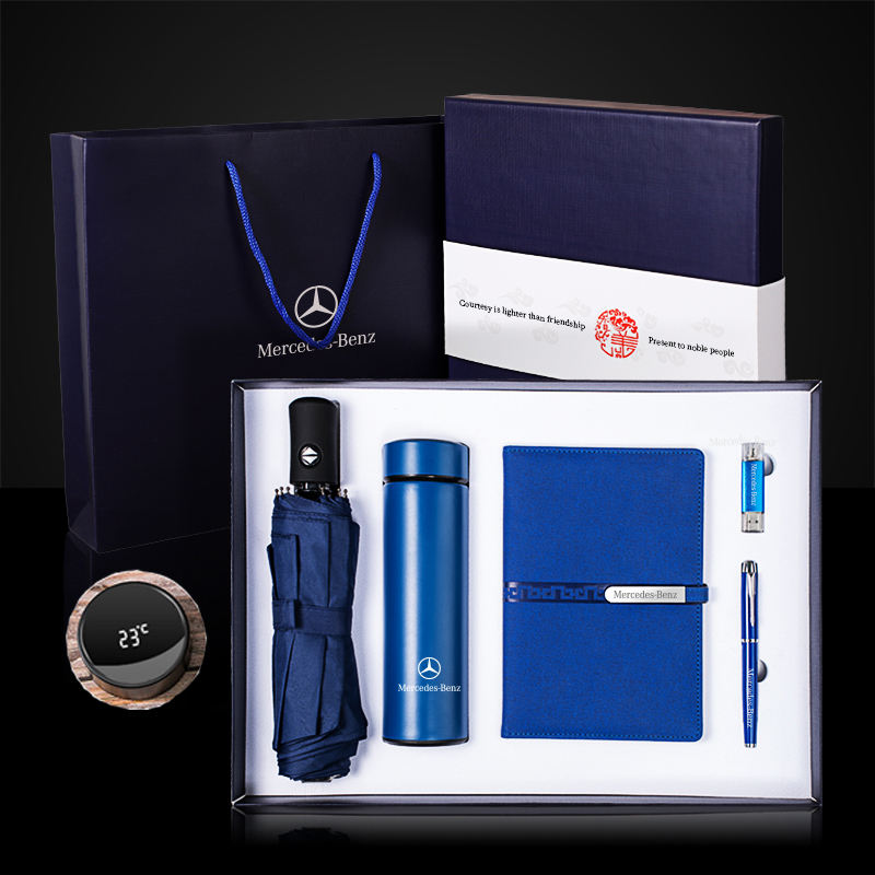 Promotional NO MOQ Marketing Gift Items Promotion Umbrella + vacuum flask + A5 notebook + USB flash drive + pen