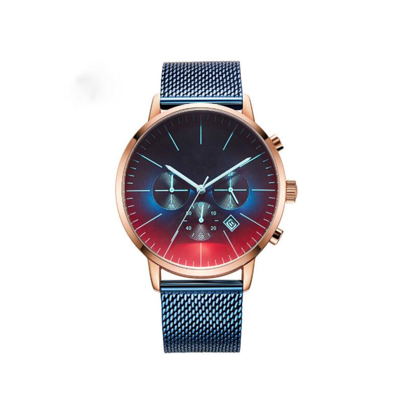 Acheter BAGARI Montre Pour Homme Horloge Relogio Masculino Acier Haute Qualité Maille Bleu Montre Au Poignet Date Affichage Montre Homme Classique De