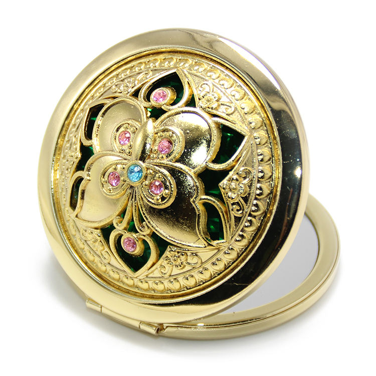 RANDOM Fashion Beauty Makeup Creative Cosmetic Compact Mirror Vintage Gifts Gold Metal Crystal Rhinestones Jewel Pocket Mirror