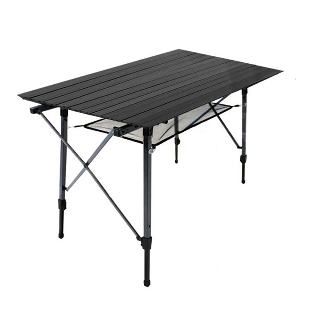 Matte Black Camping Table Outdoor Folding Table Aluminum Wooden Picnic Camping Table