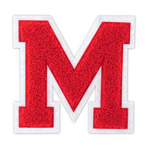 Wholesale Red M Letters Custom Chenille Sew on Patches for Clothing