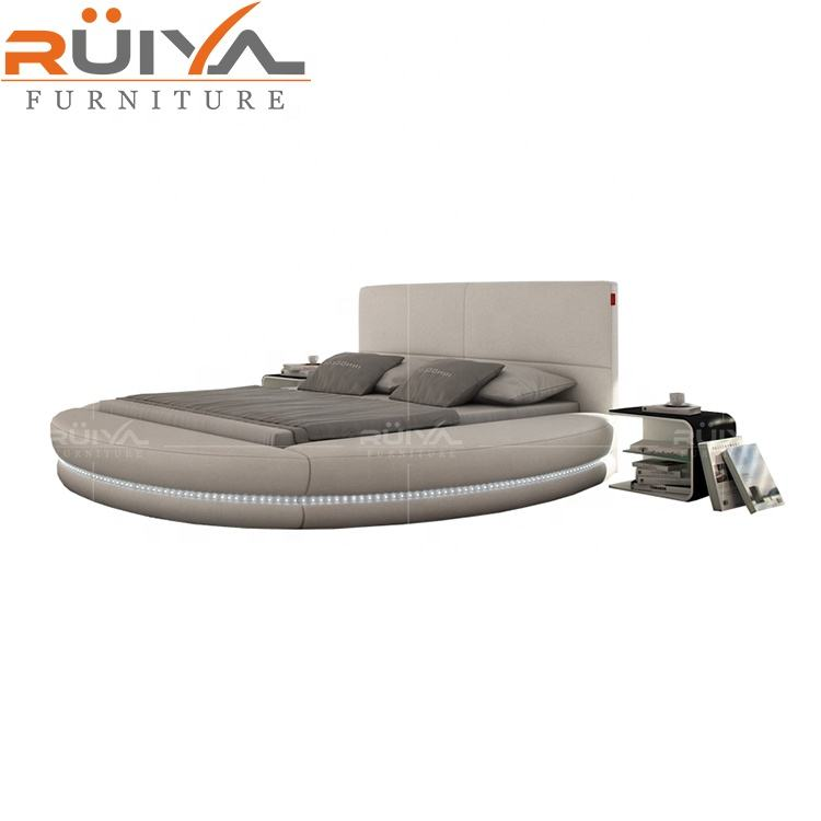 Best-selling modern white round bed furniture prices Luxury romantic style king soft leather king size round bed