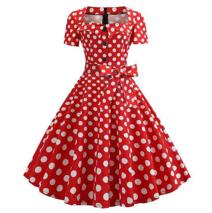 Wholesale custom Women Clothing Manufacturer Ladies Fashion New Style A Line Polka Dot Classic Vintage Retro Dresses